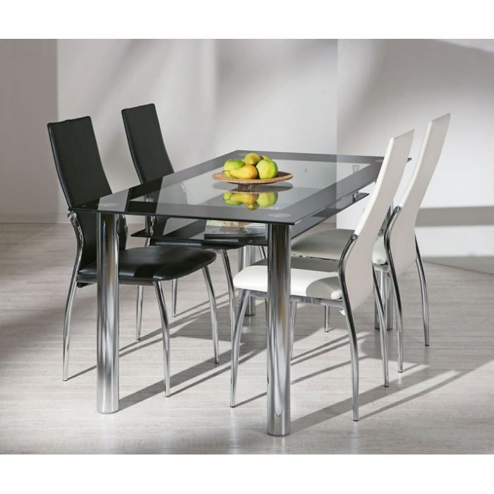table verre securit et pieds metal achat vente table a. Black Bedroom Furniture Sets. Home Design Ideas
