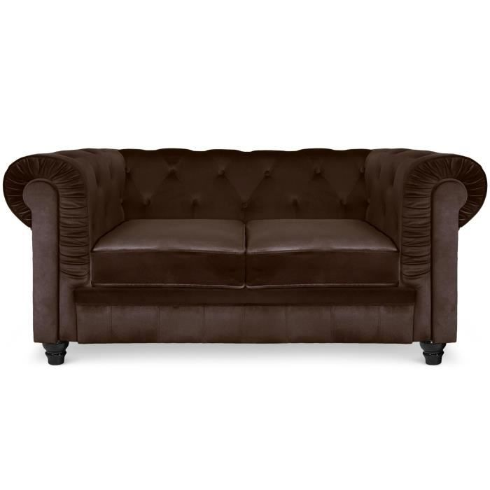Canap 2 places chesterfield velours marron achat vente canap sofa d - Vente canape chesterfield ...