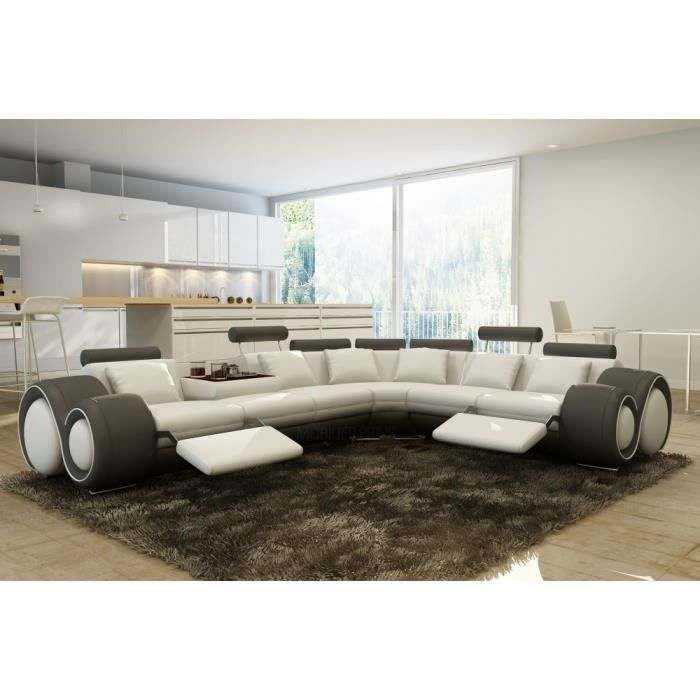 canap d 39 angle en cuir italien 7 places excelia et 2 poufs offerts achat vente canap. Black Bedroom Furniture Sets. Home Design Ideas
