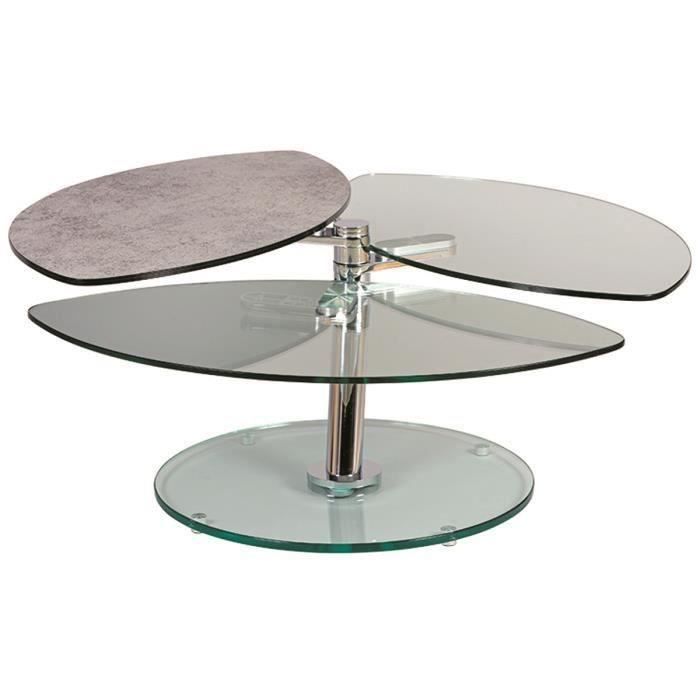 Table Basse De 3 Plateaux Verre Peinture Durcie Aspect Ceramique Achat Vente Table Basse Table Basse A 3 Plateaux Verre Cdiscount