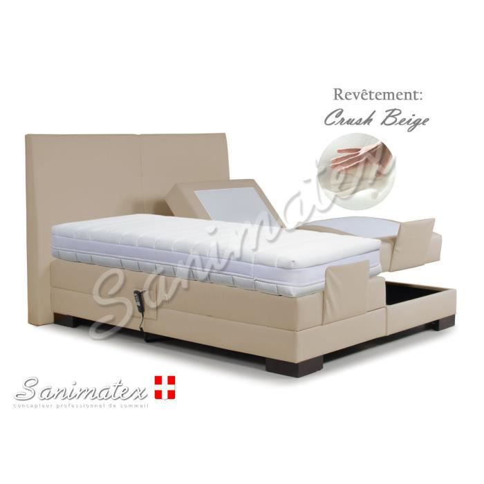 lit electrique boxspring 180x200 fujiyama niagara bleu pomme achat vente lit complet lit. Black Bedroom Furniture Sets. Home Design Ideas