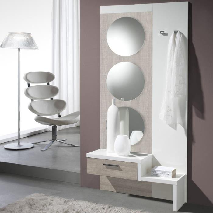 MEUBLE D'ENTRÉE Meuble d'entrée Chêne clair/Blanc + miroir - GOMEL