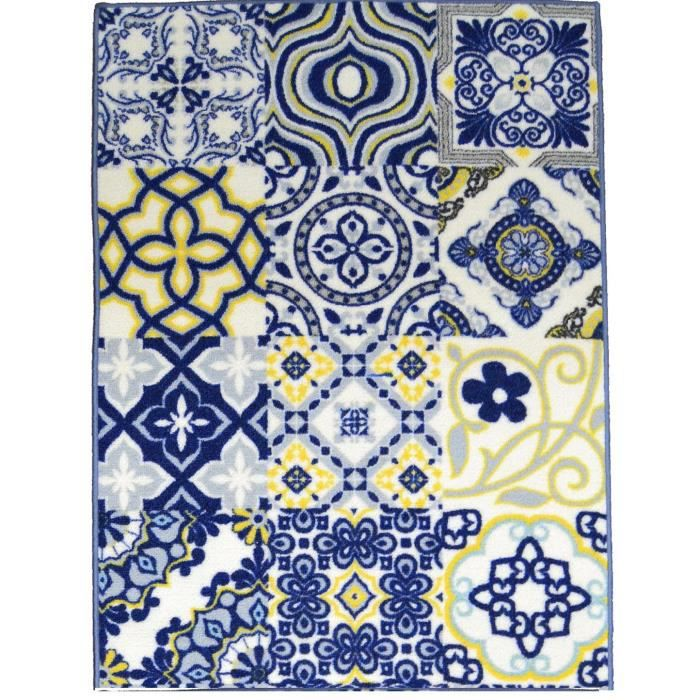 tapis de salon utopia carreaux de ciment 120x170 cm bleu. Black Bedroom Furniture Sets. Home Design Ideas