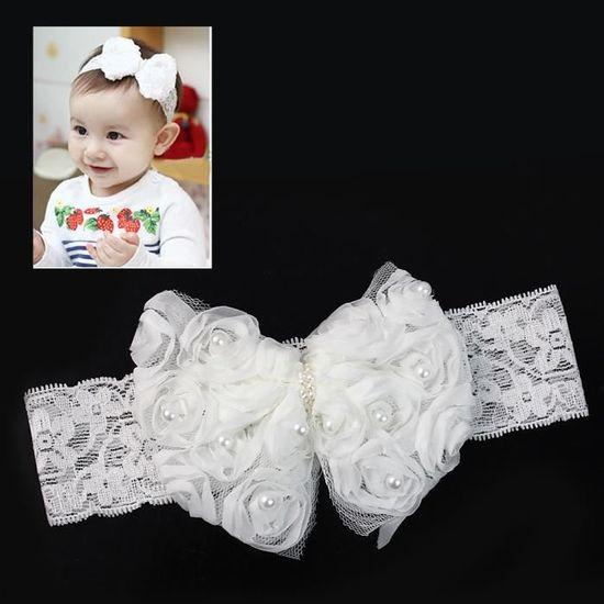 PRINCESS-DREAMS bébé bandeau baptême rose rose blanc photographie Coiffe Fleur