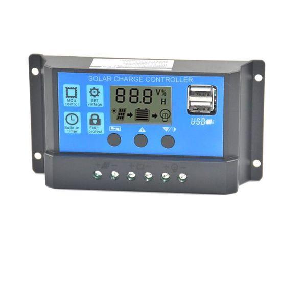 30A 24V avec mode de charge /à 3 /étapes et fonction de minuterie R/égulateur de charge solaire 30A50A R/égulateur de batterie /à panneau solaire MPPT 12V