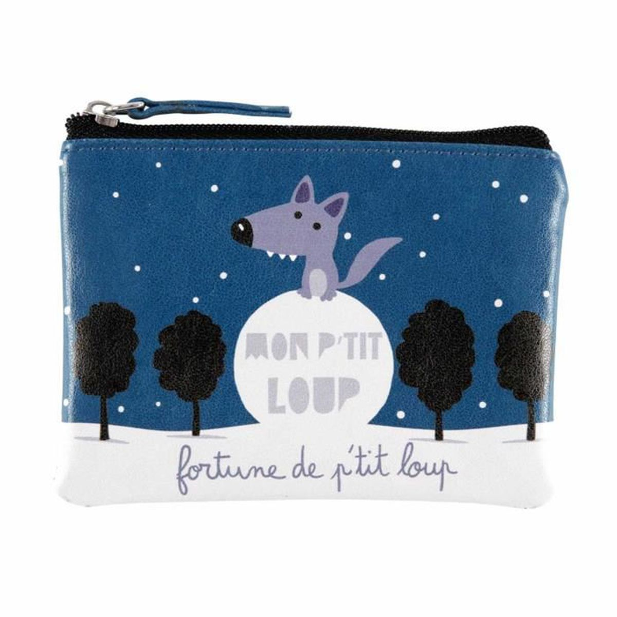 porte monnaie zipp fortune mon petit loup bleu pochette. Black Bedroom Furniture Sets. Home Design Ideas