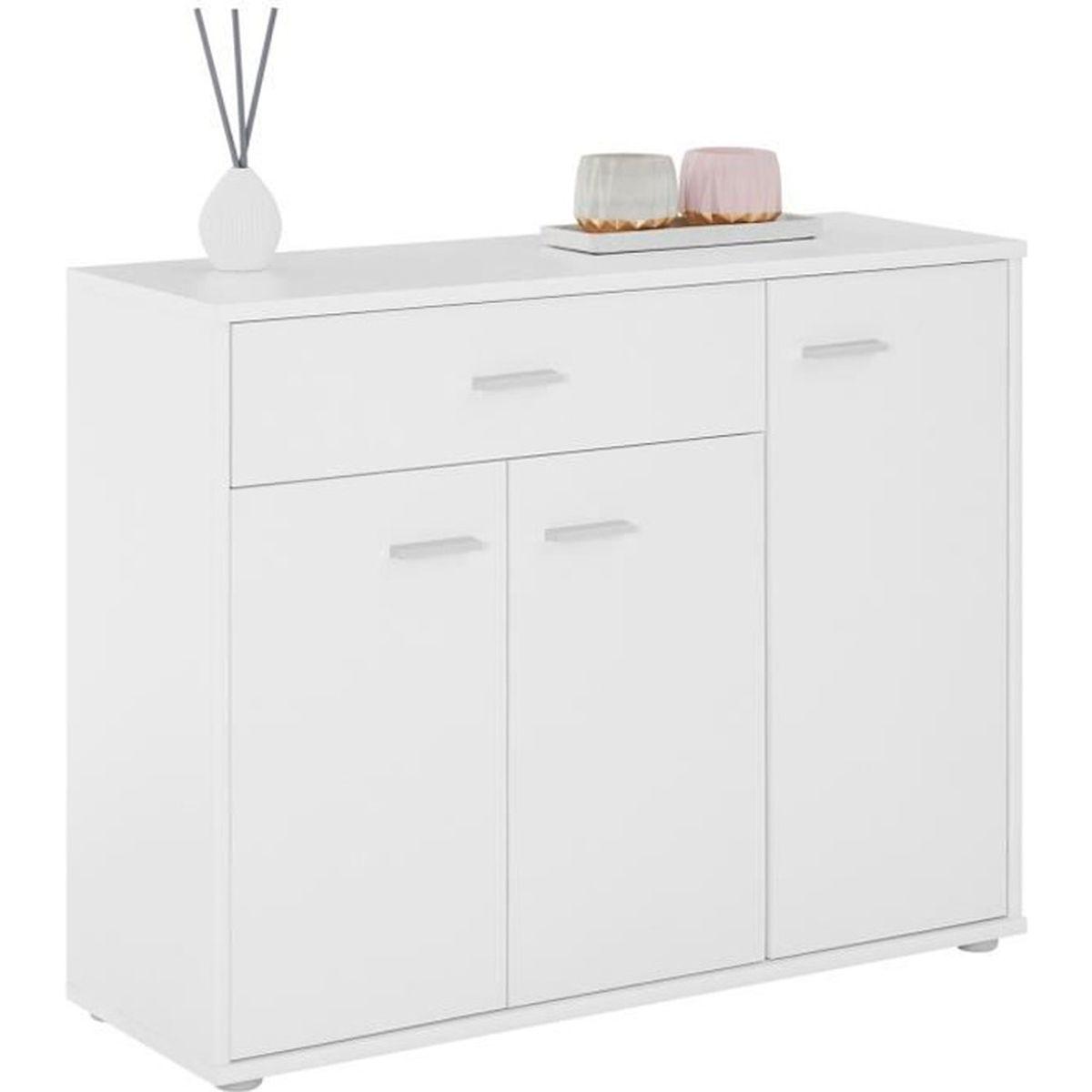 Panneau Melamine Noir Mat buffet coraline, commode meuble de rangement avec 1 tiroir