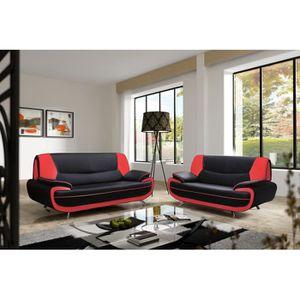 ENSEMBLE CANAPES Canapé 3+2 places design noir et rouge Marita