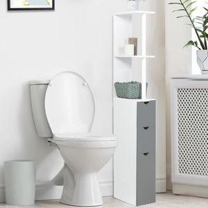 COLONNE - ARMOIRE WC Meuble WC étagère bois blanc/gris