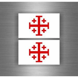 Akachafactory Autocollant Sticker Tuning Voiture Moto Croix Ordre de Santiago Drapeau r4