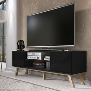 meuble tv noir et bois achat vente pas cher. Black Bedroom Furniture Sets. Home Design Ideas
