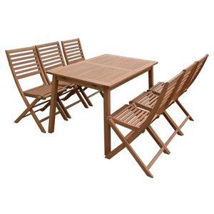 Ensemble table et chaise de jardin FINLANDEK - Ensemble table 120 - 180 cm + 6 chaise