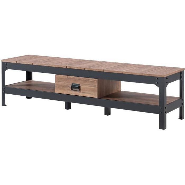 INDUSTRIE Meuble TV industriel effet bois et noir brillant - L 151 cm