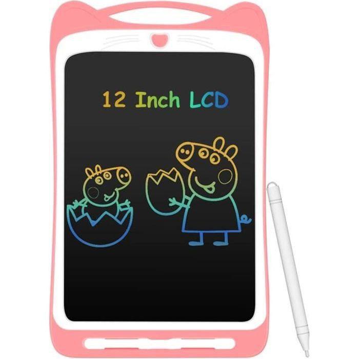 """Tablette d'Ecriture LCD Enfant 12"""" Ardoise Magique Coloré Planche à Dessin avec Stylet Tablette Graphique Effaçable Bouton de"""