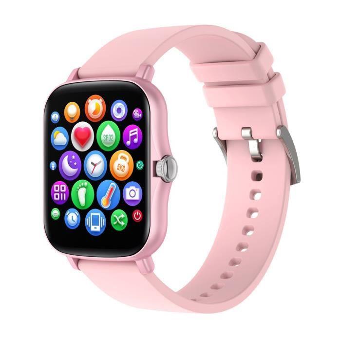 Montre Connectée pour Android iOS, Montre étanche IP67 de Sport, Montre avec Moniteur de Sommeil Distance Rappel D'appel SMS,Rose