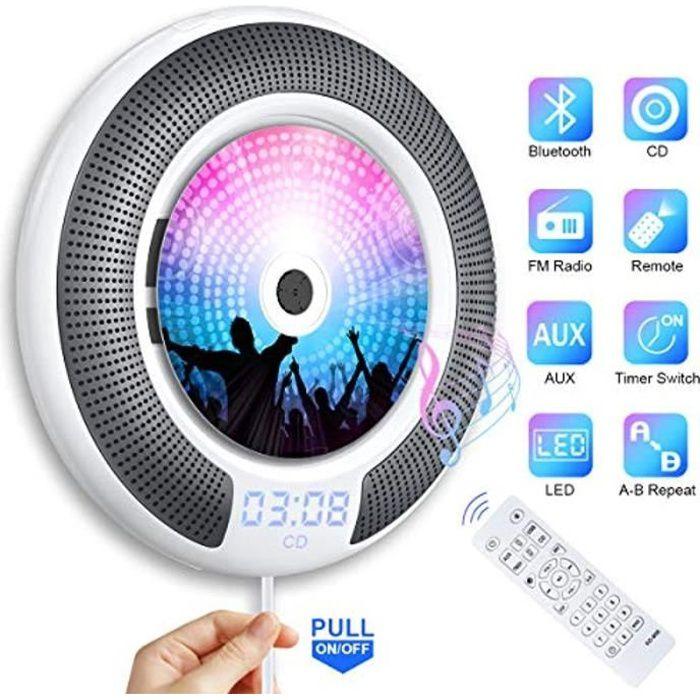 Gueray Lecteur CD Portable Bluetooth Mural Haut-Parleur HiFi Intégré Lecteur CD Montage avec Port Audio DE 3,5 mm Clé USB et Audio A