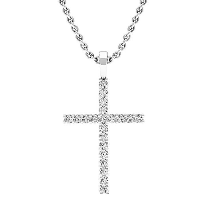 Chaine De Cou Vendue Seule CNPEH Femmes 0,30 Carat (CTW) 14k ronde de diamants en or Pendentif croix 1/3 Ct (argent chaînette inclus