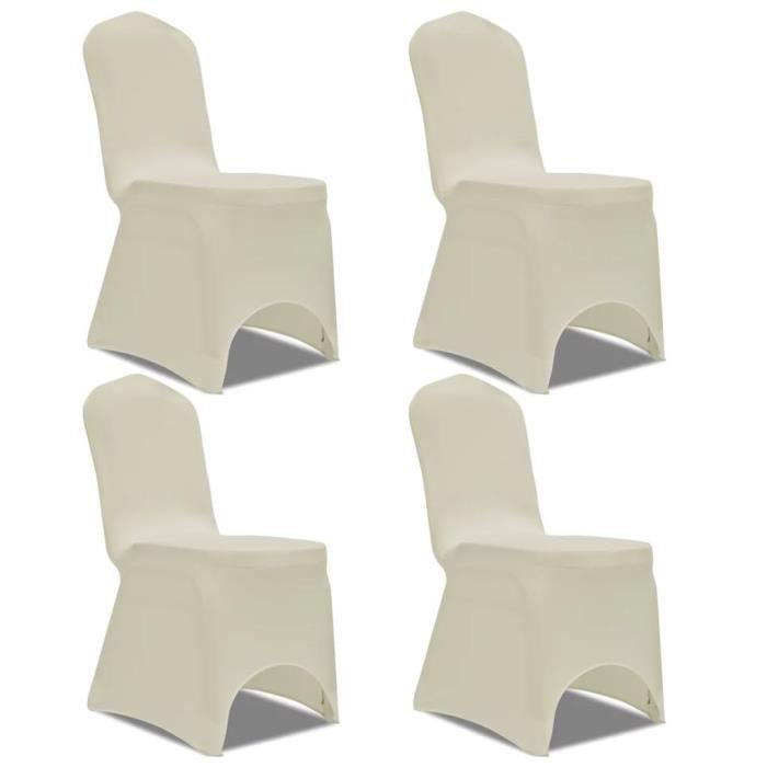 Housse de chaise extensible 4 pcs crème -PAI