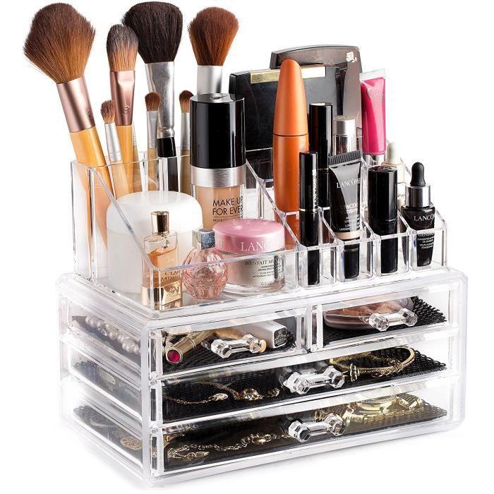 Boîte de Rangement cosmétique en Acrylique, Rangement pour Maquillage, Présentoir, Organisateur, avec 4 Tiroirs, Rangement des Rouge