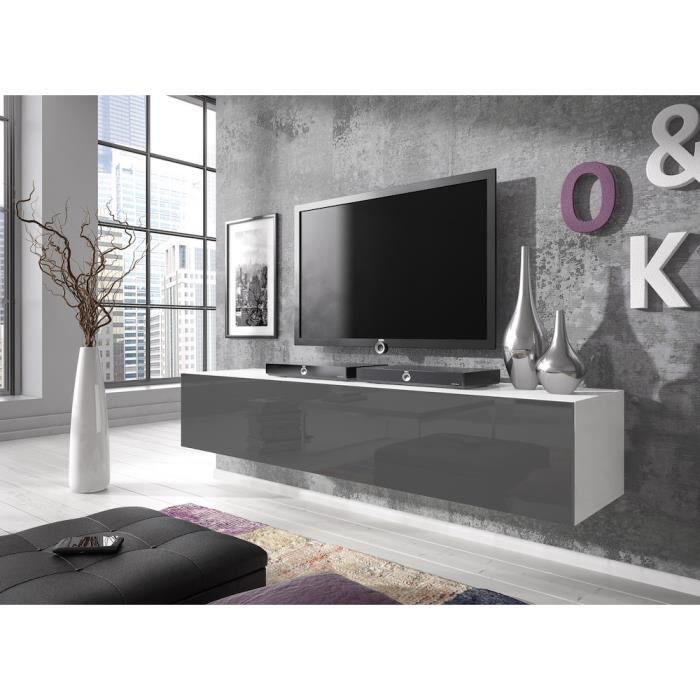 Meuble TV flottant Rocco 160 cm (corps mat Blanc - portes Gris haute brillant)