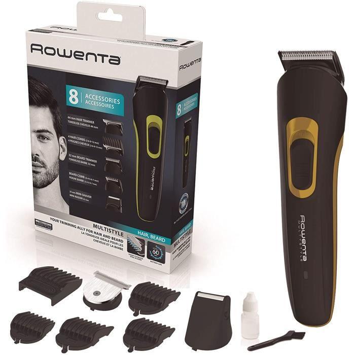 TONDEUSE CHEVEUX Rowenta Multistyle multi-tondeuse id&eacuteale pour les cheveux et la barbe Avec ou sans fil 8 accessoires TN279
