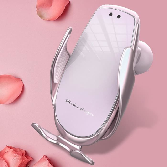 15W Charge rapide support pour téléphone de voiture Qi chargeur sans fil pince automatique support de Charge pour - Type Pink