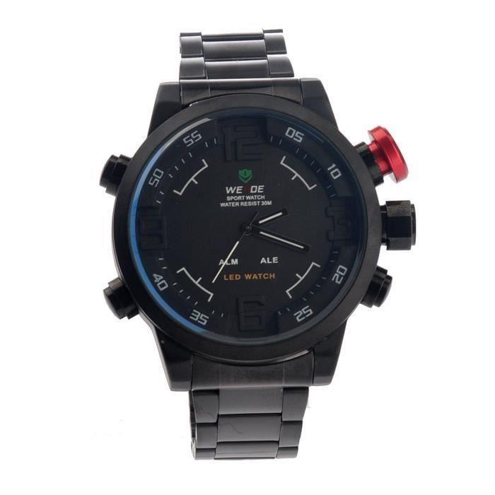 Dual Time Sport Quartz numérique Montre LED de Weide WH-2309 étanche Hommes avec Date - Semaine - alarme (noir + blanc)