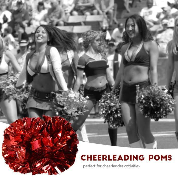 Atyhao pompons Cheerleader Aerobics Pom Poms Pompoms pour Dance Party School Sports Competition (Rouge)