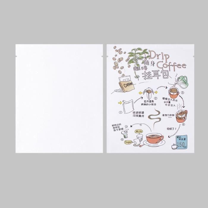 Papier Alimentaire,Sachets d'emballage de café sous forme goutte à goutte, 100 pièces, pochettes en - colorful white kraft #A