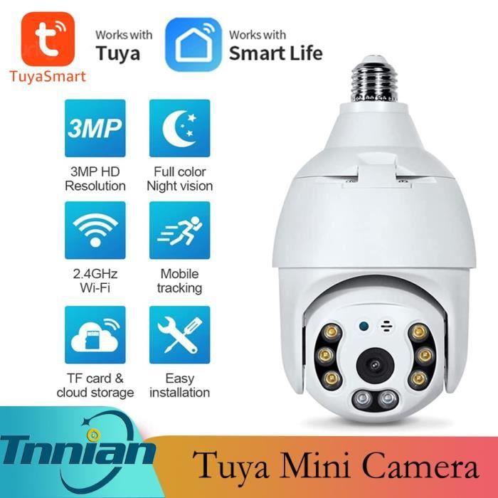 Carte SD 3MP 64G Caméra de vidéosurveillance PTZ IP WIFI E27, 3mp, ampoule de sécurité, Vision nocturne, fonc