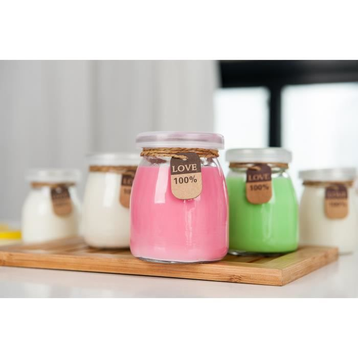 Lot de 9 Pots de Yaourts Bocal en Verre avec Couvercles, Idéal pour Mousse aux Chocolat Crèmes Desserts Yaourts - 200ML