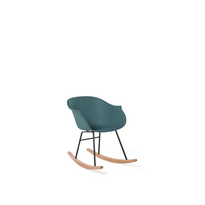 Chaise à bascule verte émeraude en plastique Harmony