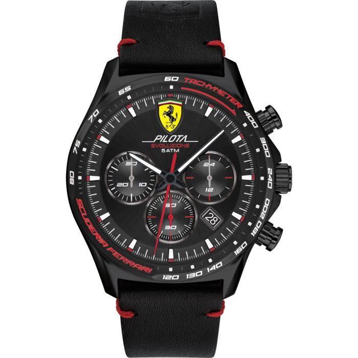 Ferrari-Montre Chronographe pour Homme à movement Quartz en Cuir - 0830712