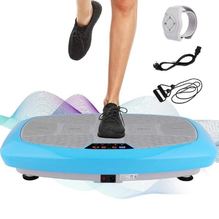 Plateforme Vibrante Fitness 3D Vibrations -30 Niveaux Vitesses avec Télécommande +2 Bandes Elastiques d'Entraînement -Bleu