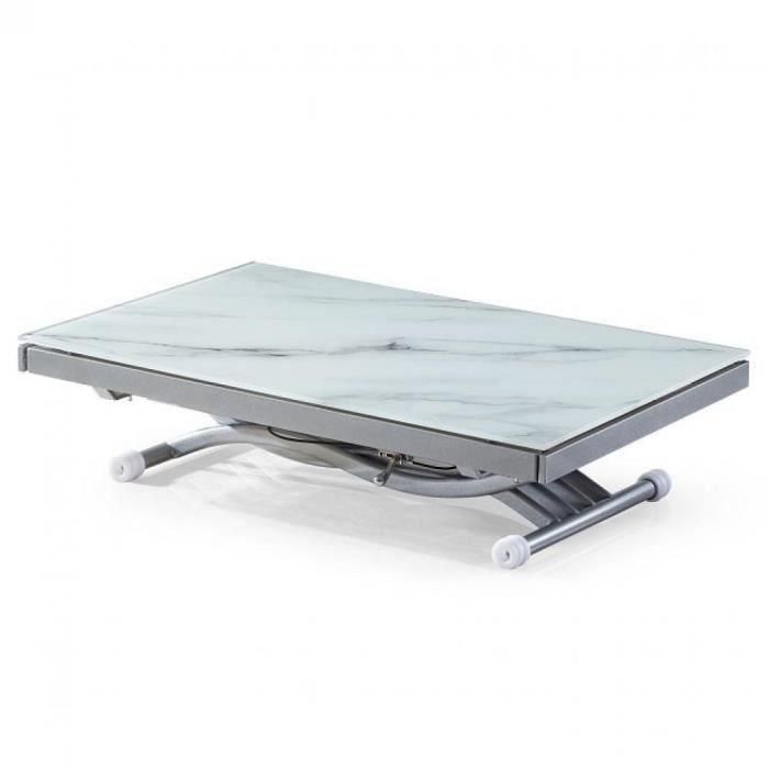Table basse NEWFORM relevable extensible, plateau en verre trempé, marbré blanc blanc verre trempé Inside75