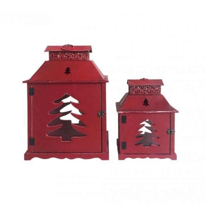 Rebecca Mobili Set de 2 Lanternes Lumière Bougies Métal Verre Bois Rouge