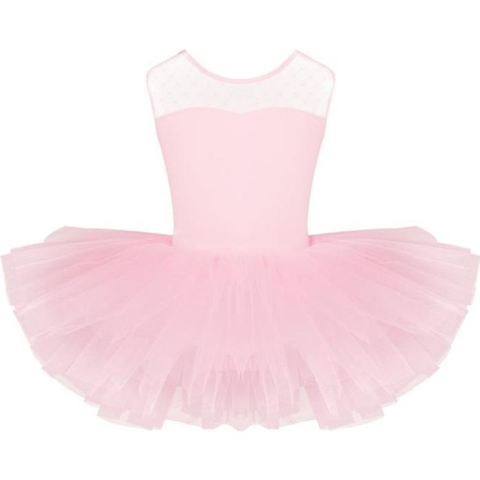 Tutu de Danse Ballet Classique Enfant Fille Manches Courtes Coton Leoratd 4-12 Ans Rose