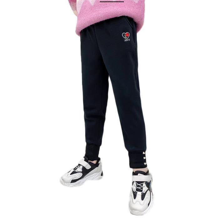 Pantalon de Jogging pour Fille Enfant Pantalon de Survêtement Doublés de Molleton Chaud Pantalons,Noir2