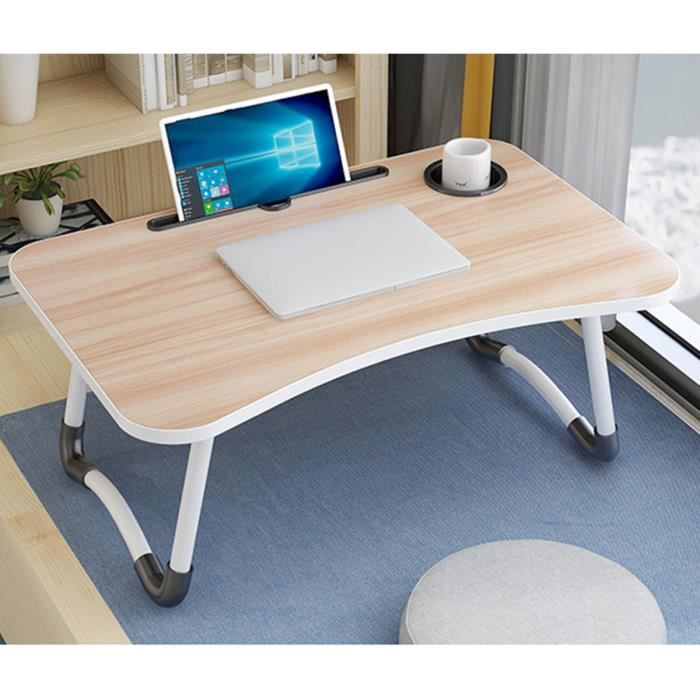 NEUFU Table de lit pliant Support Tablette - 60x28x40cm