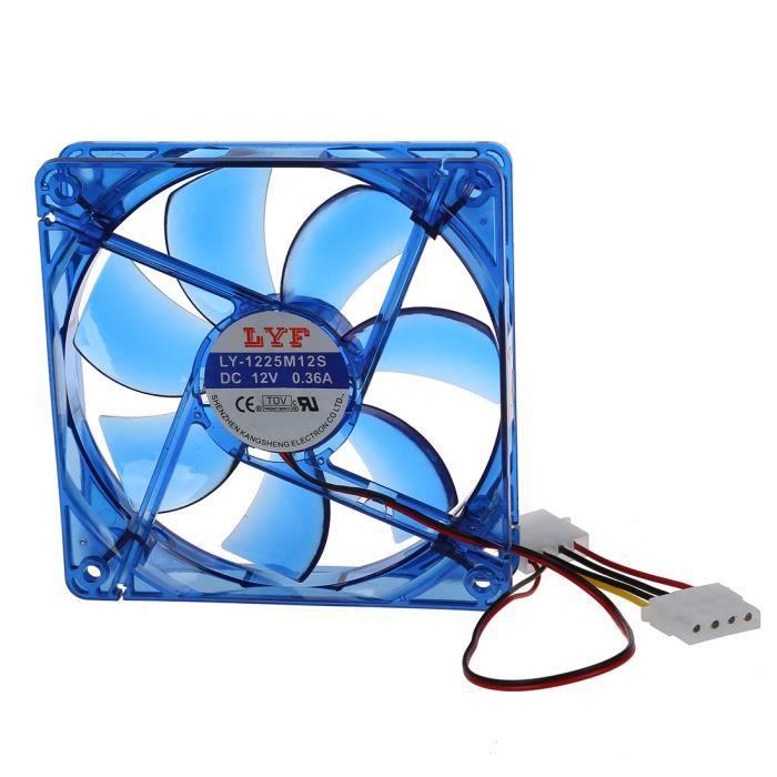 Cc 12V 4 broches 4 Leds bleues ventilateur de refroidissement pour Pc ordinateur 120mm x 25mm