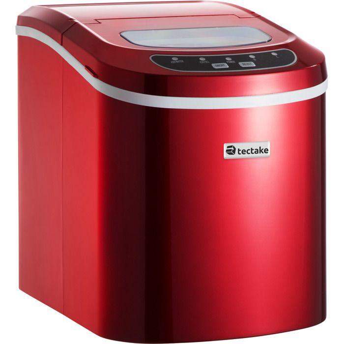 TECTAKE Machine à glaçons 9 Glaçons en 6 à 13 minutes de 12 à 15 kg de glaçons en 24 heures 36 cm x 24 cm x 32 cm Rouge