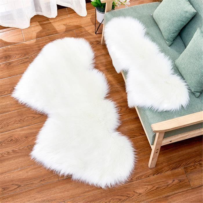 TEMPSA Tapis de Sol Double Coeur Laine Artificielle Peau de Mouton Solide Salon Sol Tapis Chambre Fourrure Canapé Sol 60x120cm blanc