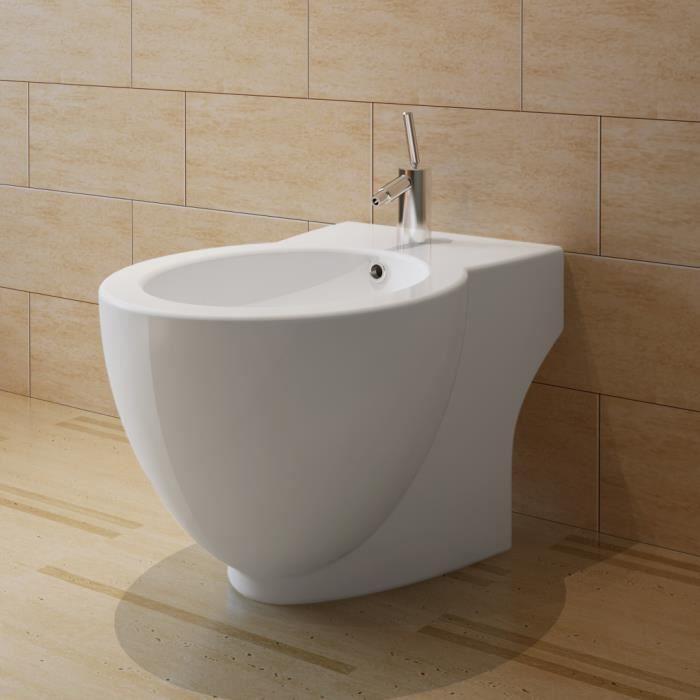 Bidet rond à poser en céramique sanitaire blanc