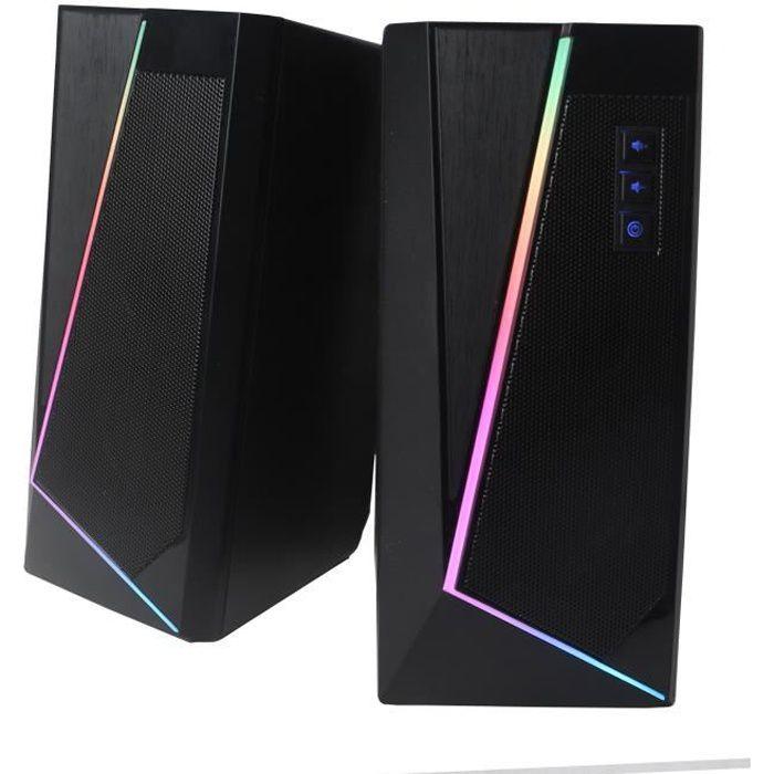 WE Enceintes PC WE 2.0 2 x 3W RMS Connexion Bluetooth, LED RGB Port USB, Jack stéréo 3.5 mm Interrupteur on/off