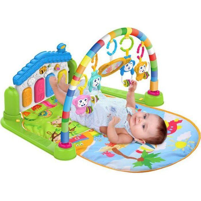 3 en 1 Cadre de fitness multifonctionnel, bébé Piano Musique Tapis de jeu -vert