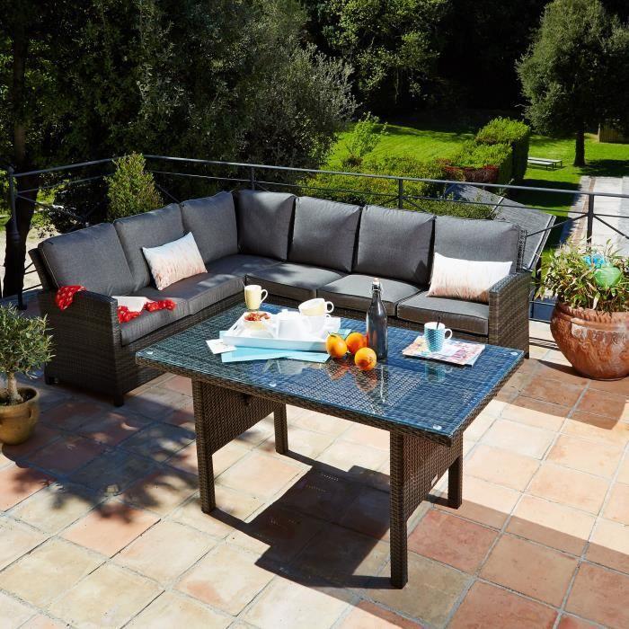 Dinning Salon de jardin avec table de repas - Taupe - Achat ...