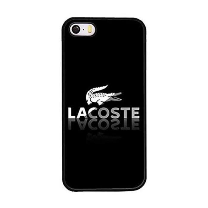 coque iphone 5 5s lacoste logo croco noir et blanc