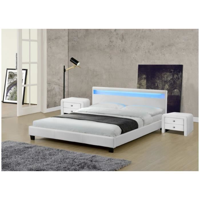 lit leds pu blanc radiosa 140x190 avec chevets achat. Black Bedroom Furniture Sets. Home Design Ideas