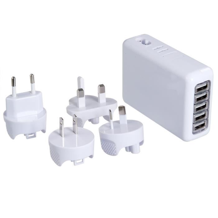 prise multiple 5 femelle usb wall charger charg achat. Black Bedroom Furniture Sets. Home Design Ideas