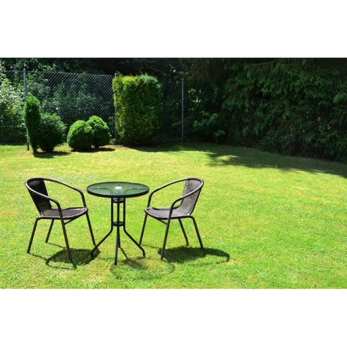 Ensemble bistro de jardin 1 table 2 chaises rotin for Salon de jardin rotin blanc